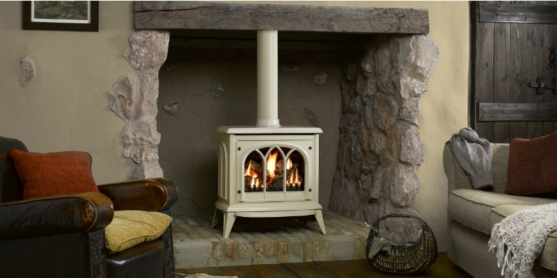Gazco Gas Ashdon in Ivory Enamel with log-effect